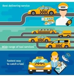 Taxi service banner horizontal set Urban vector image vector image