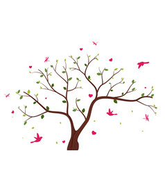 beautiful tree with birds vector image vector image