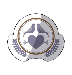 color sticker with heart crossed by arrow in vector image