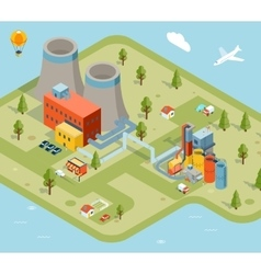 flat 3d isometric factory vector image vector image