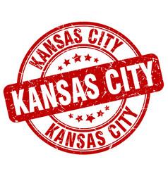 kansas city red grunge round vintage rubber stamp vector image vector image