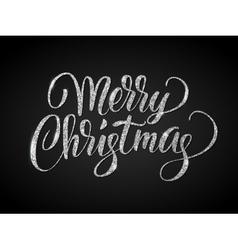 Merry christmas card with silver glitter lettering vector image vector image
