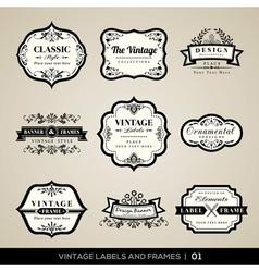 Vintage labels and frames design elements vector image