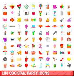 100 cocktail party icons set cartoon style vector image vector image