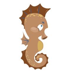 cartoon sea horse a small fish vector image vector image