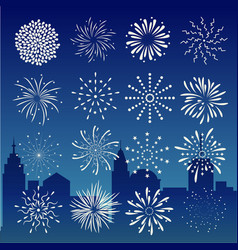 fireworks on city at night landscape background vector image vector image