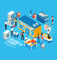 laundry interior isometric composition vector image vector image