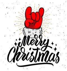 merry christmas santa claus hand with rock and vector image vector image