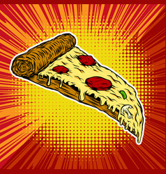 pizza on pop art style background vector image vector image