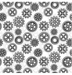 retro sketch mechanical gears seamless pattern vector image