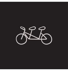 Tandem bike sketch icon vector image vector image