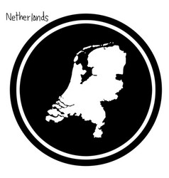 white map of netherlands on black vector image vector image