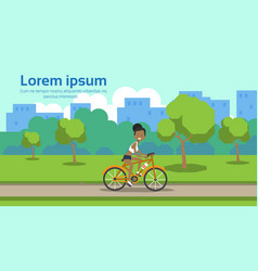 african american woman cycling city park green vector image