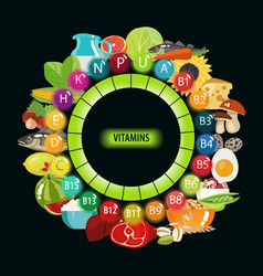 All vitamins in food vector