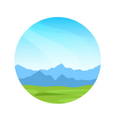 alpine mountains on a sunny day colorful vector image