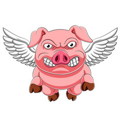 Angry pig cartoon flying vector