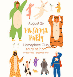 Announcement pajama party poster flat vector