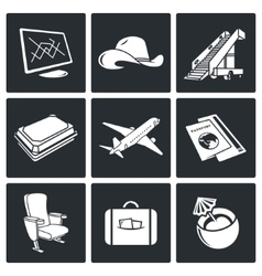 Avia Air flights icon set vector