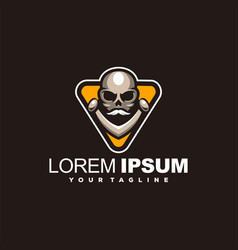 Awesome skull head logo design vector