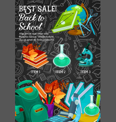 back to school supplies sale banner template vector image