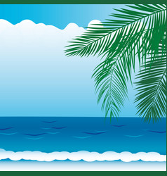 Background with sea views branches palm vector