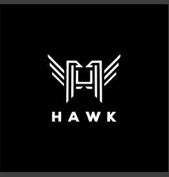 bird falcon eagle hawk monogram line outline style vector image