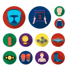 Boxing extreme sports flat icons in set collection vector