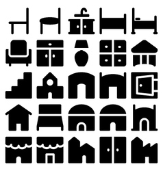Building and Furniture Icons 11 vector