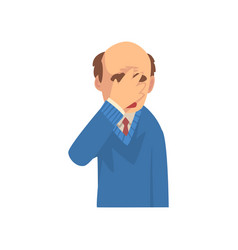 Businessman covering his face with hand bald man vector