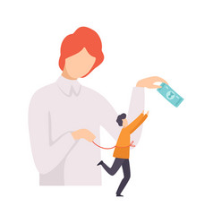 Businessman manipulating man with money and rope vector