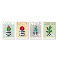 cacti realistic posters set vector image