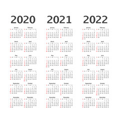 Calendar for 2020 2021 and 2022 years calender vector