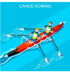 Canoe Rowing 2016 Summer Games Isometric 3D vector