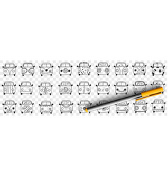 cars hood and windshield doodle set vector image