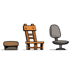 cartoon armchairs and wooden chair set vector image