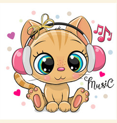 Cartoon kitten with pink headphones on a white vector