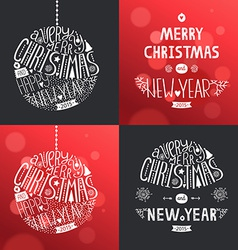 christmas greeting card set vector image