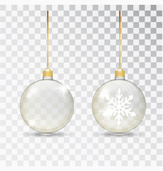 christmas transparent glass ball xmas glass vector image