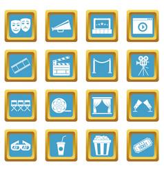 cinema icons azure vector image vector image
