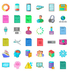 Cloud computing icons set cartoon style vector