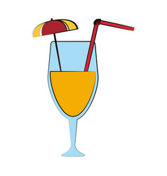 cocktail with umbrella and straw icon image vector image