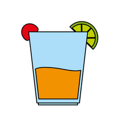 color image cartoon glass cup of cocktail with vector image