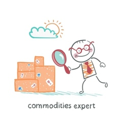 Commodities expert with a magnifying glass looking vector