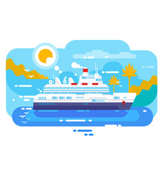 Cruise ship in sea design flat vector