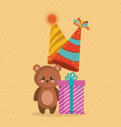 cute bear teddy with gift vector image