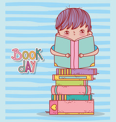 cute boy sitting reading book in stacked books vector image