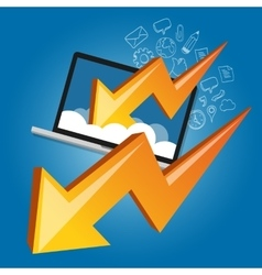 Down chart laptop screen cloud failure crisis vector