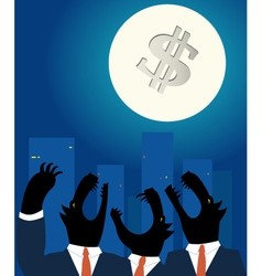 Downtown business wolves holwing at full moon vector