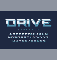 Drive display font design alphabet typeface vector