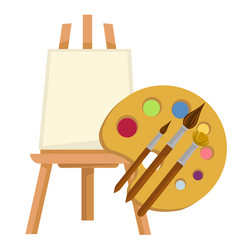 easel and palette with paints and brushes vector image
